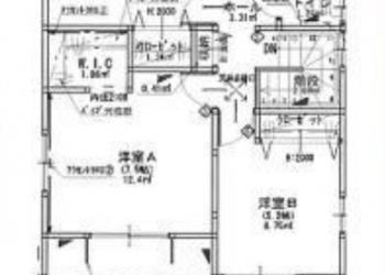 2F 室内図面 洋室7.5帖 6帖 5.2帖 フリースペース(納戸)
